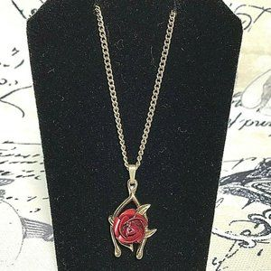 """Jewelry - Gold Tone Wish Bone Red Rose Pendant Necklace 16"""""""